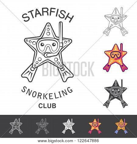 Starfish snorkeling club emblem. Vector illustration with a starfish mask snorkel and flippers. Logo and emblem template for snorkeling club.