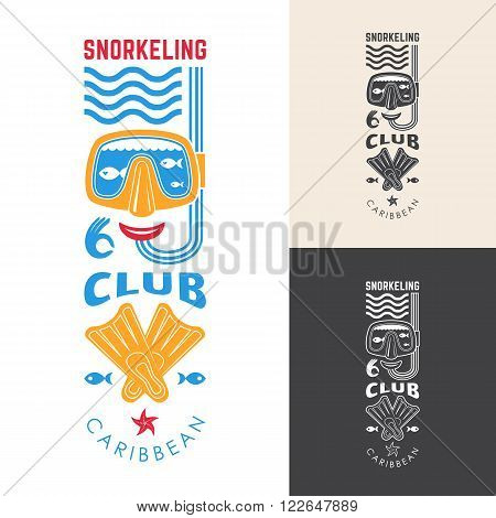 Snorkeling club emblem. Vector illustration with a mask snorkel and flippers.