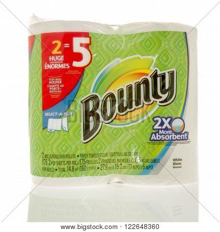 Winneconne WI - 7 Feb 2016: Package of Bounty paper towels.