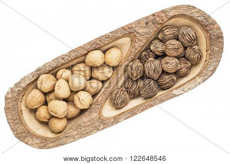 English and black walnuts in a mango wood split tray with bark edges, isolated on white, top view