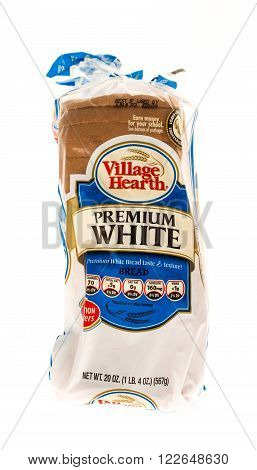 Winneconne WI - 31 May 2015: Bag of Village Hearth premium white loaf sliced bread.