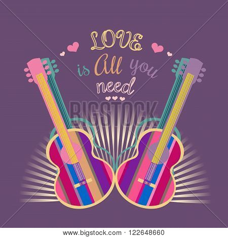 Motivated famous Music Quote Love is all you need. Acoustic Guitar silhouette. Template for poster flyer. Idea for design live music festival concert club bar hipster party. Vector Illustration