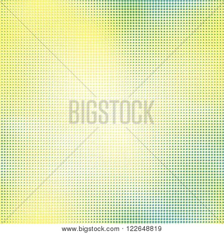 Halftone seamless vector background. Abstract halftone effect with colored dots on white background.