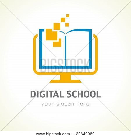 Template logo for distance learning digital technology via the Internet. Digital school book logo