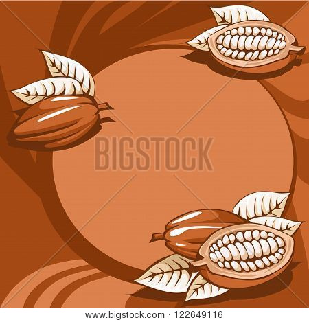 brown cocoa bean still life abstract background - vector
