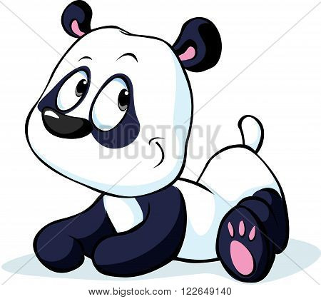 cute vector Chinese panda bear isolated on white background