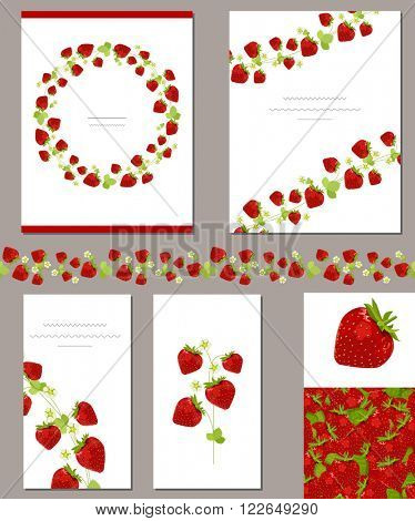 Templates with red ripe strawberries.  For  summer design, announcements, greeting cards, posters, advertisement.