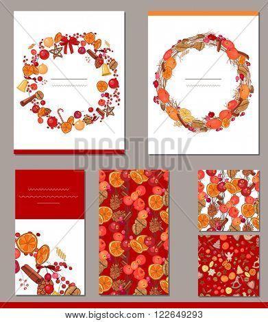 Templates with different autumn fruits and berries.  For  autumn and Christmas design, announcements, greeting cards, posters, advertisement.
