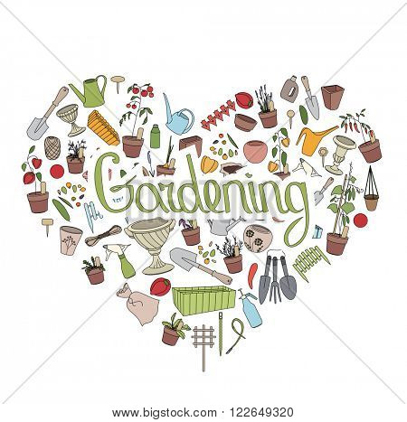 Gardening tools. Text Gardening in heart shape. Heart made of gardening tools,pots,vegetables, flowers, herbs and seeds.