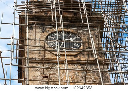 Clock Tower in the city of Galle on the restoration