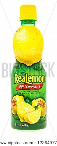 Winneconni WI - 7 July 2015: Bottle of realeom juice used in cooking or flavoring water.