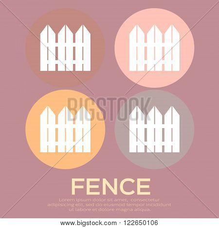 Vector white rural fence silhouette. Garden Park Yard elements.
