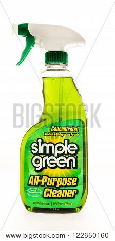 Winneconne WI - 7 August 2015: Bottle of Simpke Green all purpose cleaner that is safe for the enviroment.