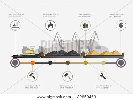 Port and tugboat with barge infographic time line. Industry and train transportation concept. Vector illustration
