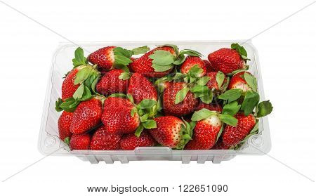 Box full with fresh Strawberries on a white background