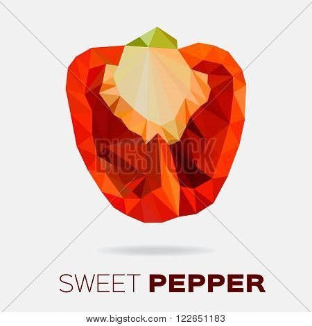 Polygonal Sweet red pepper.  Low poly red bell pepper.