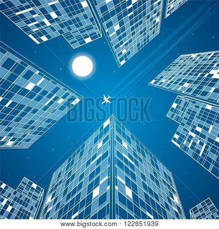 Airplane flying, business building, neon city, infrastructure panoramic