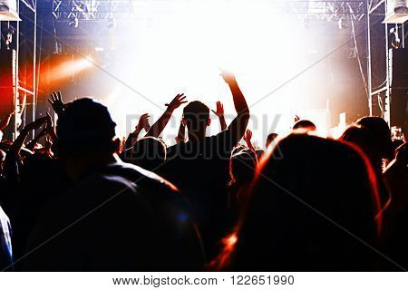 Silhouettes Of A Crowd Party Concert Music Happy