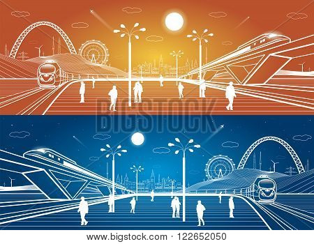 Two trains moves, railway station, people waiting for the train, industrial and transport panoramic, city infrastructure on background, vector design art