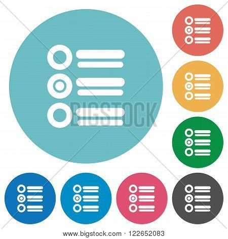 Flat radio group icon set on round color background.