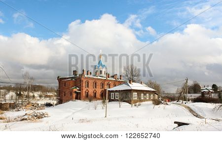 Staraya Ladoga, Russia - 23 February 2016, Church on the territory of the Holy Dormition nunnery, 23 February 2016. Tourist places in the great ancient route from the Vikings to the Greeks.Staroladozhsky Holy Assumption nunnery. Gold ring of Russia. **
