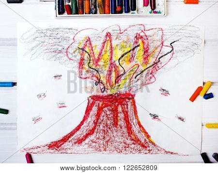 photo of a colorful drawing: erupting volcano