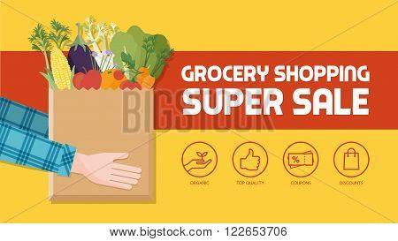 Grocery shopping banner with consumer holding a bag filled with vegetables fruits and other food products icons set