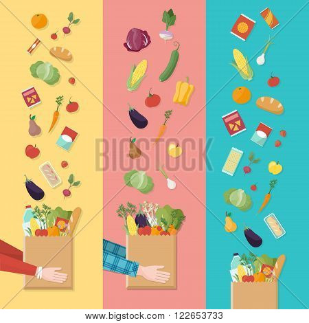 Grocery shopping banners set consumer's hands holding a shopping bag full of vegetables and products