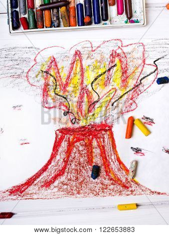 photo of a colorful drawing - erupting volcano