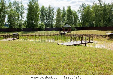 dry pond with berths in the park