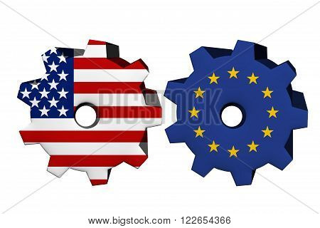 The United States of America and European Union working together Two cogwheels with a flag of the United States and European Union isolated on white