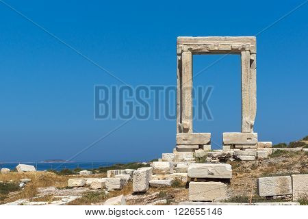 Ruins of Portara, Apollo Temple Entrance, Naxos Island, Cyclades, Greece