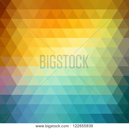 Abstract geometric background with orange, blue and yellow triangles. Vector illustration Summer sunny design.