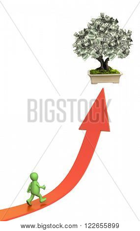 3d money tree with dollar banknotes and bound arrow of red color. Isolated on white background
