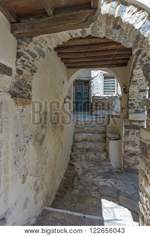 Tunnel under houses in Chora town, Naxos Island, Cyclades, Greece
