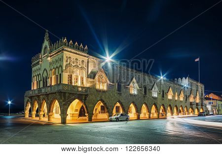 Rhodes. Governor's Palace. Greece. Old Town entered in the Register of Heritage UNESCO. Knight Building, Byzantine churches and mosques decorate the city.