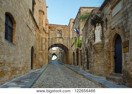 Greece, Rhodes - July 19 Knight Street in the morning. on July 19, 2014 in Rhodes, Greece