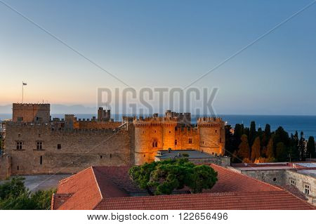 Greece, Rhodes - July 12 Palace of the Grand Masters at sunset on July 12, 2014 in Rhodes, Greece