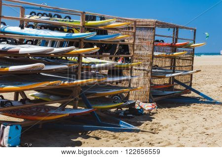 Greece, Rhodes - July 17 Windsurfing boards on the beach Prasonisi on July 17, 2014 in Rhodes, Greece