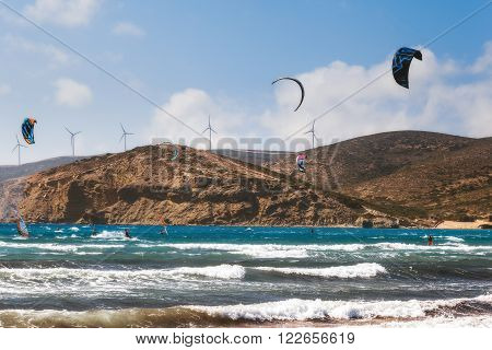Greece, Rhodes - July 16 2014: LKiters and windsurfers in the Gulf of Prasonisi on July 16, 2014 in Rhodes, Greece