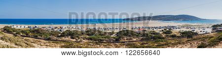 Greece, Rhodes - July 16 Panorama Beach Prasonisi on July 16, 2014 in Rhodes, Greece