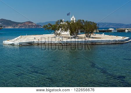 Small island with Orthodox Church in Chora town, Naxos Island, Cyclades, Greece