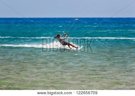 Greece, Rhodes - July 17 Beach Prasonisi kitesurfer on July 17, 2014 in Rhodes, Greece