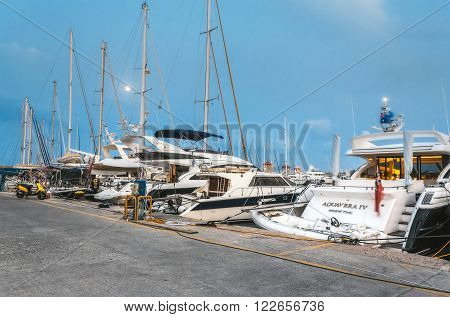Greece, Rhodes - July 11 Yacht harbor in the evening on July 11, 2014 in Rhodes, Greece