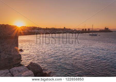 Panorama Mandraki port at sunset. Rhodes Island. Greece