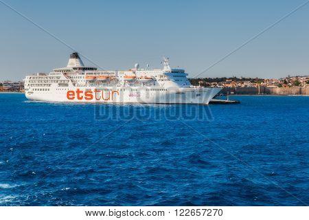 Greece, Rhodes - July 14 : Kruizny ship in the port on July 14, 2014 in Rhodes, Greece