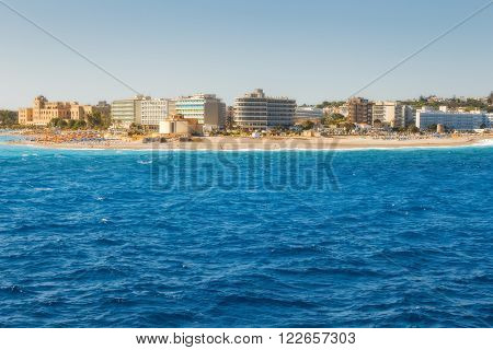 Greece, Rhodes - July 16 : Eastern point of the island and the beach alley on July 16, 2014 in Rhodes, Greece