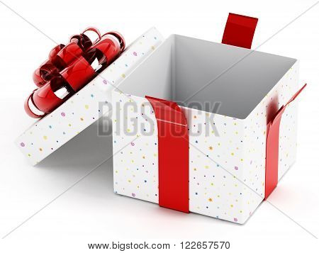 Open giftbox with red ribbon isolated on white background.