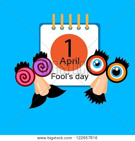 Fool Day Calendar Page 1 April Holiday Greeting Card Banner Comic Crazy Fake Nose, Mustache, Glasses Flat Vector Illustration