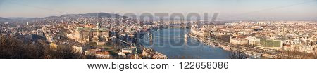 Wide Panoramic View of Budapest and the Danube River as Seen from Gellert Hill Lookout Point